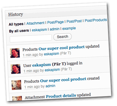 Screenshot of plugin showing a history of recent changes in the wordpress installation